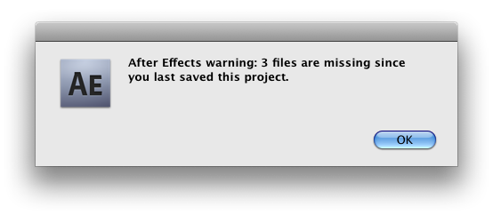 3 files are missing since you last saved this project